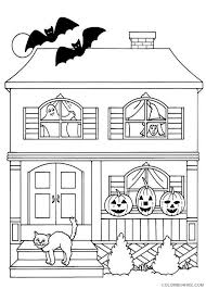 Haunted House Coloring Pages With Pumpkins Cat Bats Coloring4free