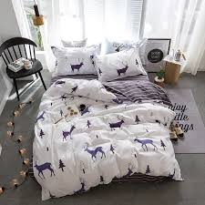Cute Cartoon Deer Bedding Sets Elk And Christmas Tree Pattern Duvet Cover Striped Bed Sheet Pillowcases