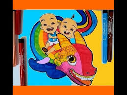 Upin Ipin Learn Coloring Pages Rainbow Dragon 2017 Video For Kids