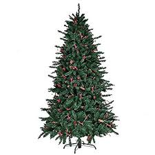6FT Artificial Christmas Tree With Pine Cones Red Berries 1388 PCS PVC Tips Pre Attached