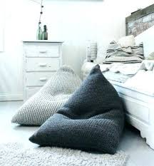 Big Bean Bag Bed Chairs Pillows Chunky Merino Wool Light Grey Knitted Kids Adult