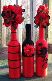 Decorative Wine Bottles Ideas by Yarn Bottles Red Vase Set Flower Vases Centerpieces Home Decor