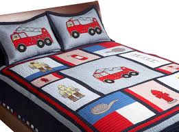 Fireman's Fire Truck Boys Bedding Twin Designer Quilt Set ...