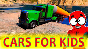 COLOR TRUCKS For Kids With SPIDERMAN! FUNNY CARS Cartoon With ...