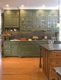 Rustic Green Kitchen Cabinets Images Serene Country