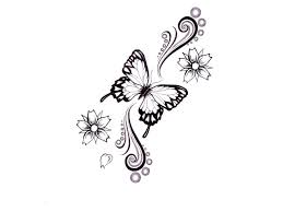 Butterfly Flowers Tattoo Design