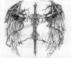 Tribal Dragon Around A Sword Tattoo