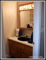 Half Bathroom Theme Ideas by Fancy Bulb Lights Mirrored Vanities Bath With Single Black Sink In