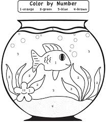 Play Game Fishbowl Color By Number Coloring Page For Kids