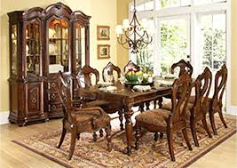 Dining Room Table And China Cabinet Warm Brown Rectangular W 2 Arm Chairs