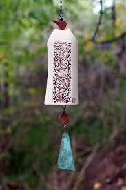 Ceramic Wind Chimes Pottery Garden Bell Copper Chime And Bird Sculpture Accent