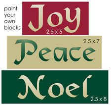 Primitive STENCIL Trio Joy Peace Noel Old English Font Christmas Sign Blocks
