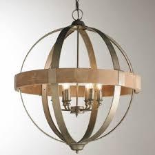 Lighting Metal And Wood Globe Chandelier 6 Light