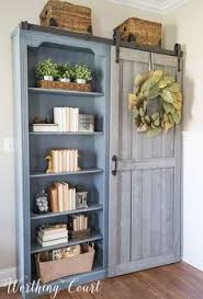 Farmhouse Style Bookcases With A Diy Sliding Door