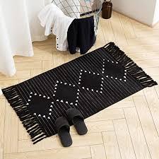 boho badezimmerläufer kleiner fransenvorleger für küche schlafzimmer baumwolle gewebter quasten überwurf marokkanischer badteppich waschbar für