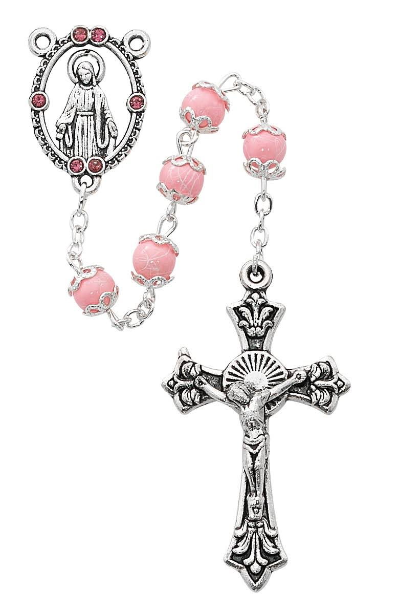 Pink Capped Rosary Boxed