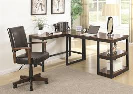 marple 2 piece l shaped desk in two tone brown and black finish by