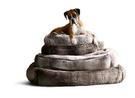 cleverly designed luxe faux fur pet beds by restoration hardware