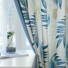 land polyester blatt blau esszimmer gardinen