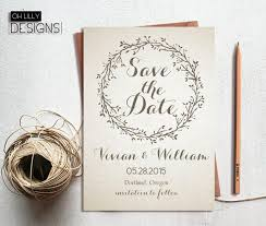 Rustic Save The Date Invitation Printable Te Wedding Cards