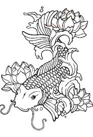 Japanese Coloring Pages Adult Koi Fish