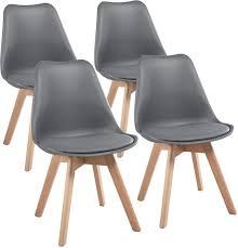 futurefurniture 4er set esszimmerstühle mit massivholz buche bein retro design gepolsterter stuhl küchenstuhl grau