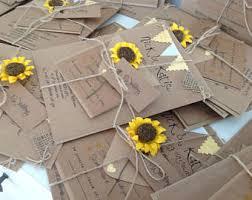 Rustic Wedding Invitations Handmade Sunflowers Custom
