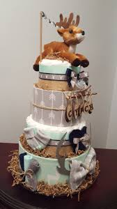 Woodland Deer Diaper Cake Baby Shower Centerpiece Gift Over 75 Diapers Included Check