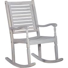 Patio Rocking Chair In White Washed Acacia Wood By Walker Edison