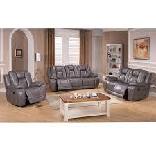 galaxy gray top grain leather lay flat reclining sofa loveseat