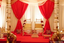 Indian Wedding Mandap Ceremony Red Gold White Chairs Decor