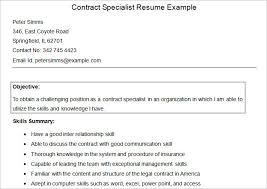 Sample Contract Specialist Resume Example