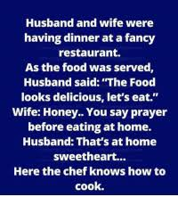 Food Chef And Fancy Husband Wife Were Having Dinner At A