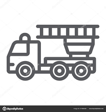 100 Fire Truck Graphics Engine Line Icon Emergency And Fire Firetruck Sign Vector