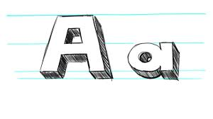 How to Draw 3D Letters A Uppercase A and Lowercase a in 90