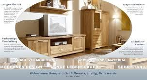easy möbel wohnzimmer komplett set b floresta 4 teilig eiche massiv farbe natur