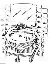 doppelwaschbecken spiegel badezimmer zeichnen stock vektor und mehr bilder ausgemalte federzeichnung