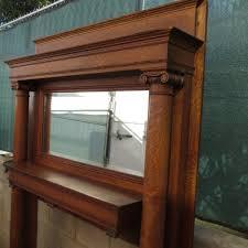 Tiger Oak Dresser Beveled Mirror by Antique Fireplace Mantel Antique Victorian Tiger Oak Mantel