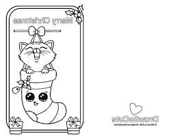 How To Draw Christmas Tree Coloring Pages For Kids Cards Sheets Kitten Card So Cute Download
