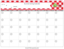 Summer Activity Calendar Printable