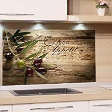 grazdesign spritzschutz glas für küche herd bild motiv olivenzweig mit schrift küchenrückwand küchenspiegel glasrückwand 100x50cm