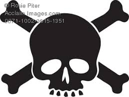 Clipart Illustration Of A Silhouette Skull And Crossbones