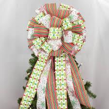 Lattice Snowflake Stripe Christmas Tree Topper Bow