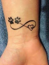 Infinity Tattoo With Paw Prints And Heart