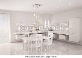 Modern White Kitchen Interior 3d Rendering Stockfoto Und White Kitchen Interior 3d Render