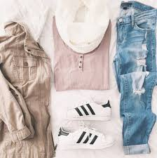 Tank Top Henley Pale Blue Denim Ripped Jeans Jacket Adidas Spring Outfits Tumblr