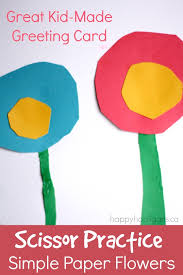 Simple Paper Flowers For A Kid Made Greeting Card