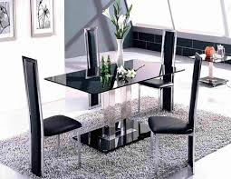 Enjoyable Black Glass Rectangle Two Base Modern Dining Table And Four Chairs Set On Grey Fur Rug As Open Room Decorating Designs