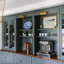 Dark Gray Built In Dining Room Ins With Brass Picture Lights