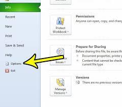 Open The Excel Options Menu
